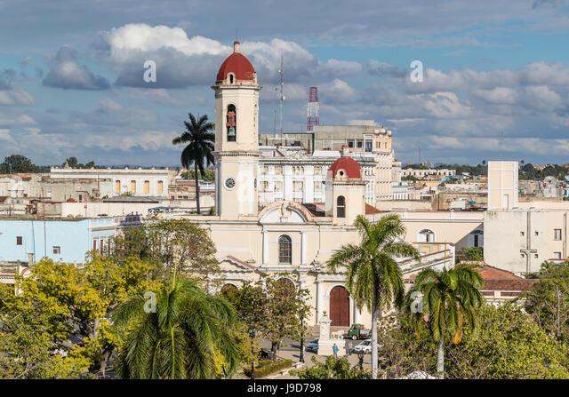 The Catedral de la Purisima Concepcion in Plaza Jose Marti, Cienfuegos, UNESCO World Heritage Site, Cuba, West Indies, - Stock Image
