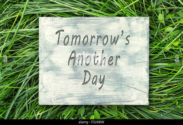 Vintage Hipster Motivational Phrase Note, Tomorrows Another Day Sign    Stock Image