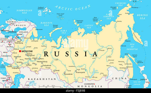 Russia map stock photos russia map stock images alamy russia political map with capital moscow national borders important cities rivers and lakes publicscrutiny Image collections