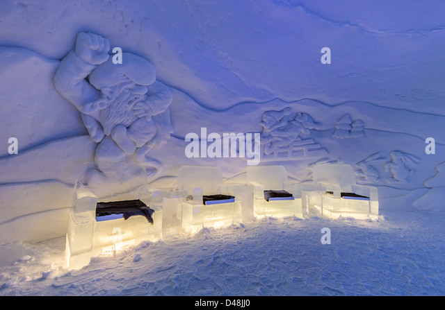 Wonderful Interior Of The Kirkenes Snowhotel, Norway, Showing Furniture Made From Ice  And Snow Sculptures