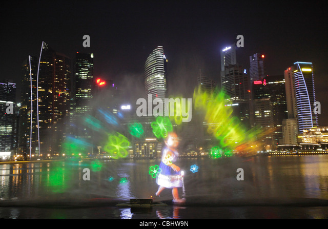 Light And Water Show At Marina Bay Singapore Stock Image