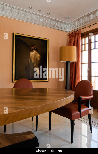 Dining table home spain stock photos dining table home for Spanish villa interior design