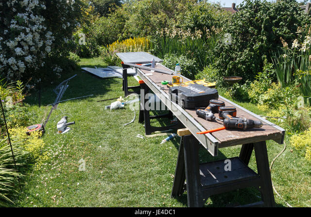 Work tools in an East Sussex garden used on a DIY project - Stock Image