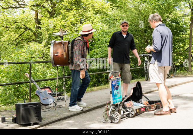 KORNELIMUENSTER, GERMANY, 18th June, 2017 - Street musician at the historic fair of Kornelimuenster on a sunny warm - Stock Image