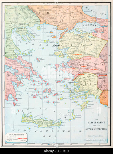 Early christian stock photos early christian stock images alamy map of the isles of greece and the seven churches early christian ministry stock sciox Choice Image