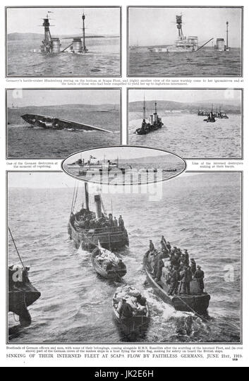 Scapa Flow, scuttling of High Seas fleet - Stock Image