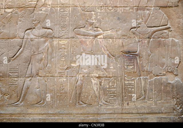 Egyptian bas relief stock photos