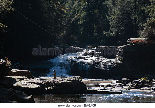 Man fishing waterfall stock photos man fishing waterfall for Youghiogheny river fishing