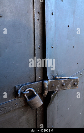 Security... a old metal door secured with padlock hasp and staple - & Lock Hasp Door Secure Stock Photos \u0026 Lock Hasp Door Secure Stock ...