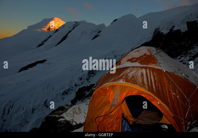 Dusk view from high c& - Mera peak - Climbers tents in foreground - Stock Image & Summit Tent Peak Himalayas Stock Photos u0026 Summit Tent Peak ...