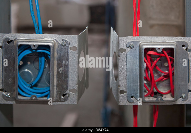 Electrical boxes carry computer wiring for a school being renovated. - Stock Image : wiring for - yogabreezes.com