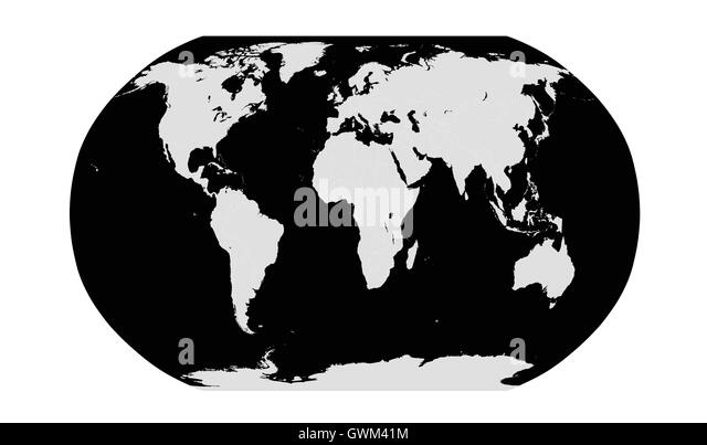 World map flat black and white stock photos images alamy world planet with world map white color flat design stock image gumiabroncs Gallery