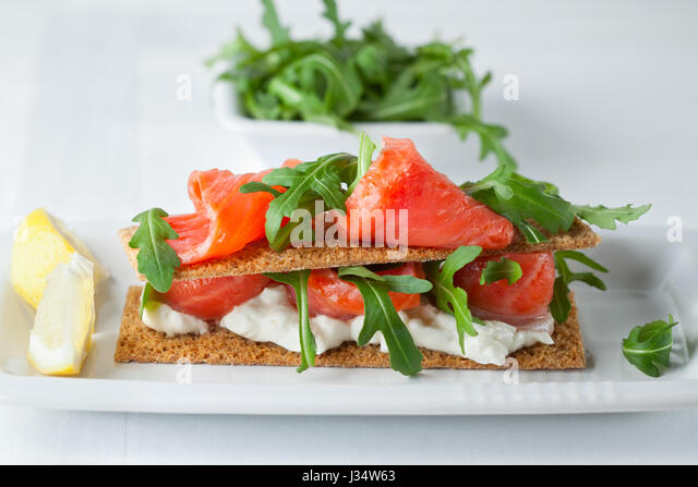 Gourmet seafood canape stock photos gourmet seafood for Smoked salmon cream cheese canape