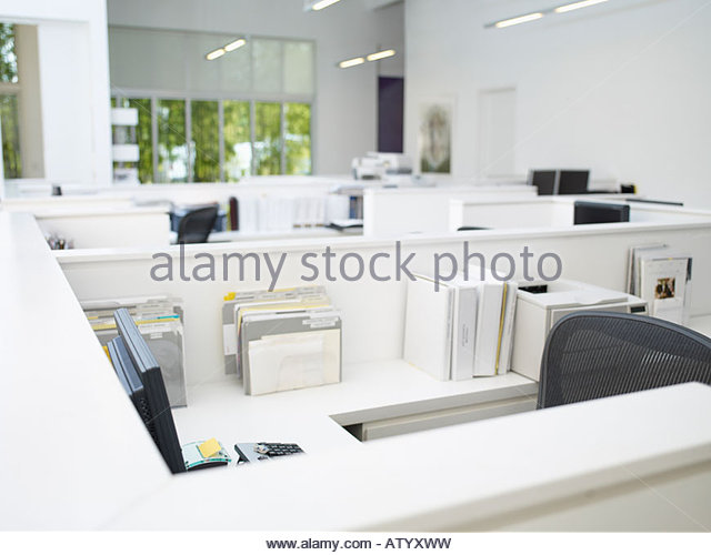 empty office cubicles stock image