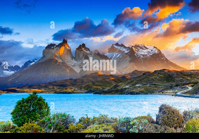 Torres Del Paine National Park, Chile. Sunrise at the Pehoe lake. - Stock Image