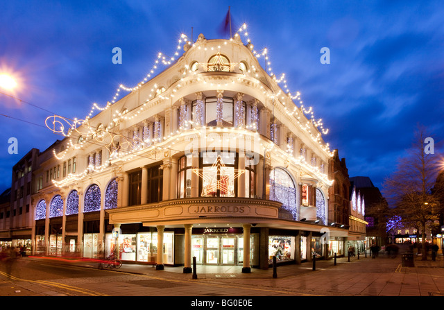 christmas lights illuminating jarrolds department store in norwich city center stock image - Christmas Light Store