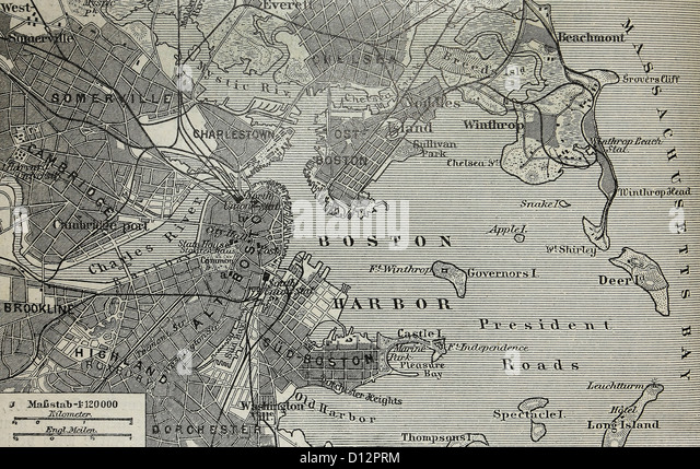Vintage Old Map Of Boston Harbor At The End Of 19th Century Stock Image