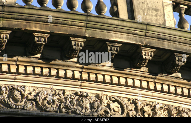 Architectural Detail To Entablature Of The Picton Reading Room Liverpool UK