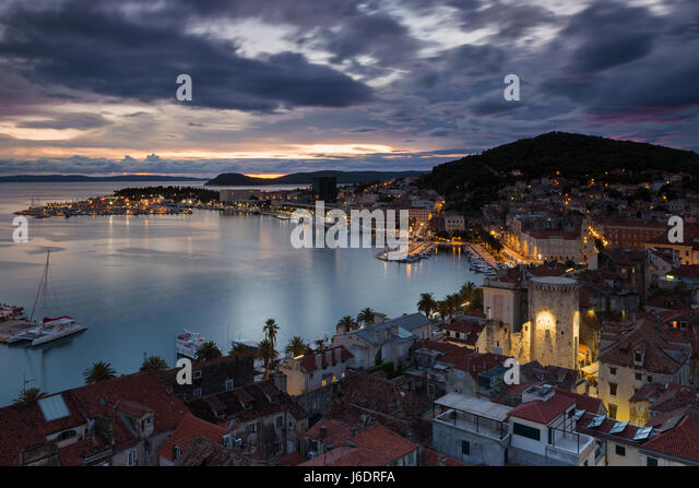 Elevated view on town Split in the evening blue hour, Croatia - Stock Image