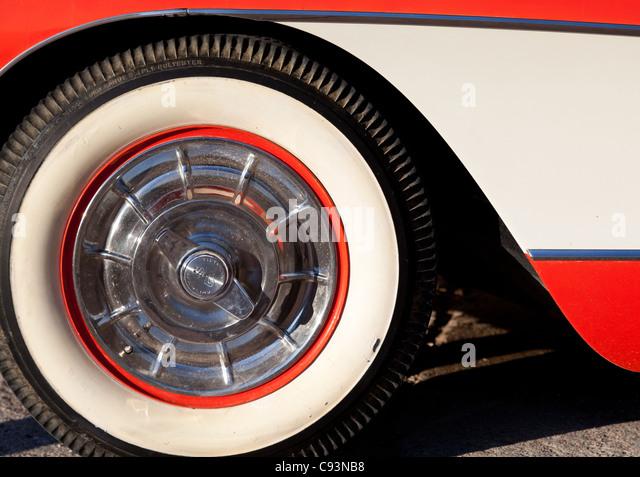 classic corvette white wall tire outside hackberry general store along historic route 66 arizona