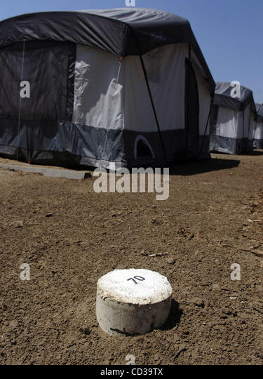 A concrete marker shows one of the 140 tent sites within the Tent City homeless c& & Tent Marker Stock Photos u0026 Tent Marker Stock Images - Alamy