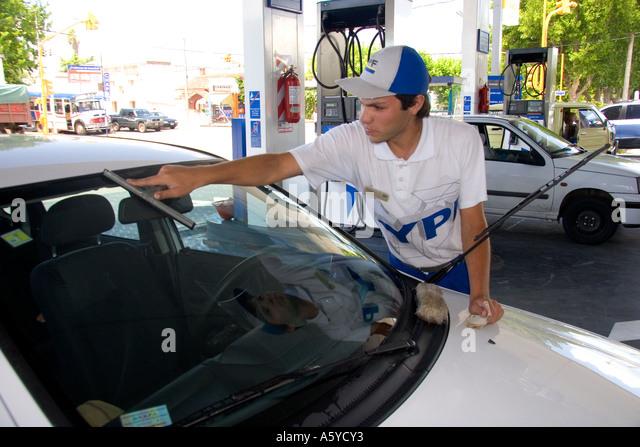 Argentina gas station selfservice women in spandex