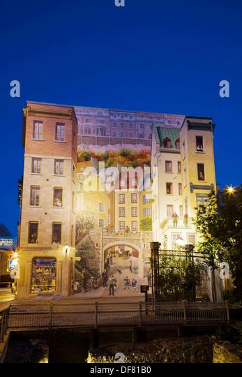 La fresque des quebecois stock photos la fresque des for Mural quebec city