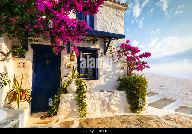 Facade of an old building in Skopelos town, Greece. - Stock Image