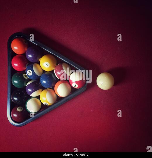 Billiard Balls Set For A Game On Red Pool Table   Stock Image