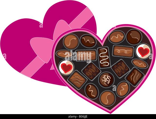 Heart Box Ribbon Chocolates Valentine Stock Photos & Heart Box ...