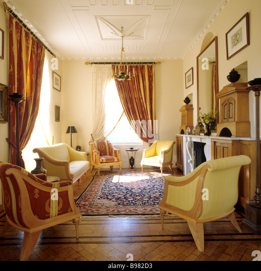 Sitting Room With Period Reproduction Furniture In A New Built  Neo Classical Villa In