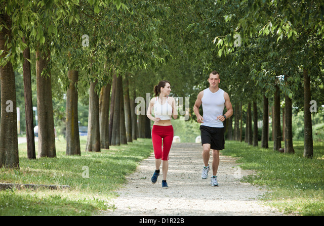 People jogging in park