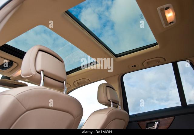 two sunroofs inside mercedes glk car zwei schiebedcher im mercedes glk stock image