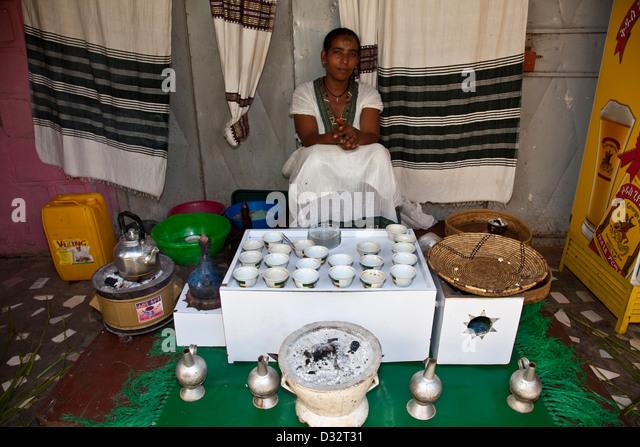 Traditional Ethiopian Coffee Ceremony Stock Photos Traditional Ethiopian Coffee Ceremony Stock