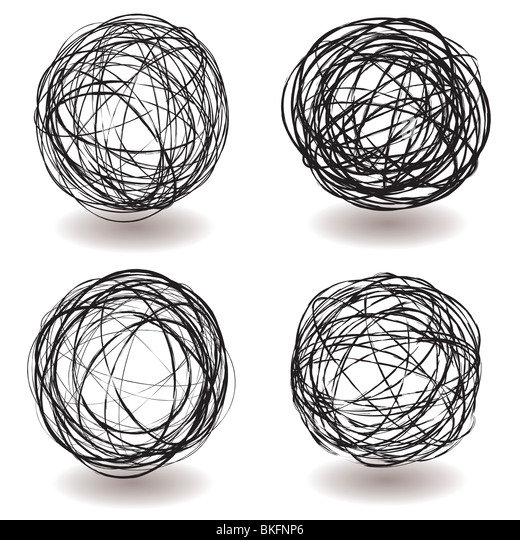 Scribble Pen Drawing : Scribble ball stock photos images