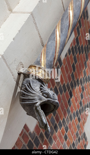 decorative fish head downspout on the royal chateau at blois france stock image - Decorative Downspouts
