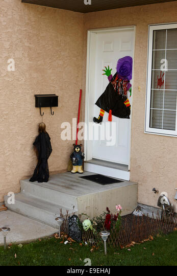 halloween decorations at the entrance to a condo saskatchewan canada stock image