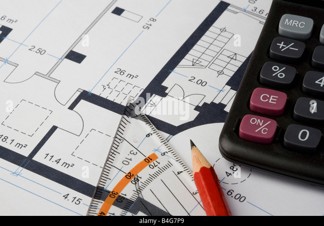 Building plan calculator ruler pencil stock photos for House build calculator