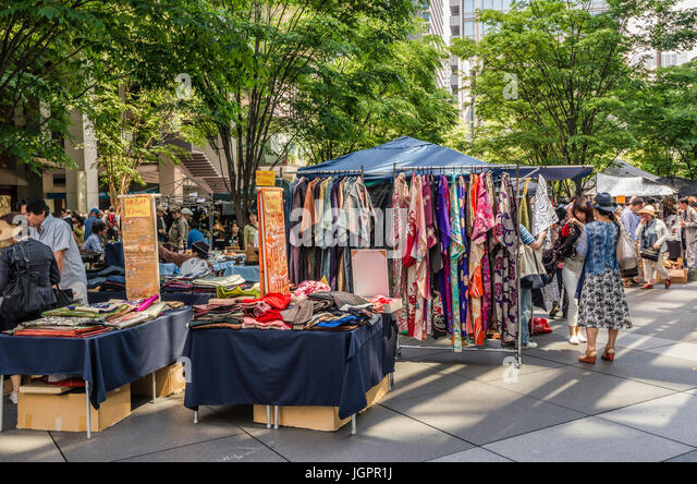 Antique market in front of the Tokyo International Forum, Tokyo, Japan - Stock Image