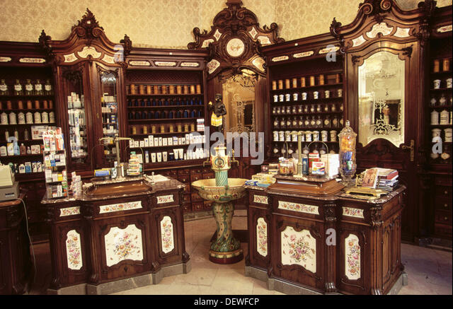 Old chemist shop interior stock photos old chemist shop for Baroque furniture usa