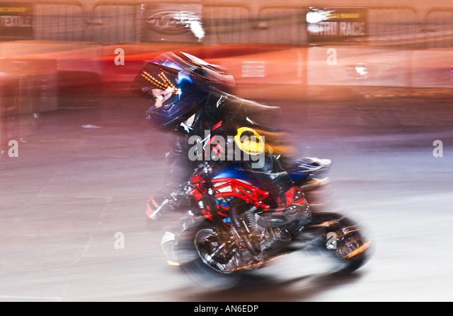 Young Boy On A Mini Moto Bike   Stock Image