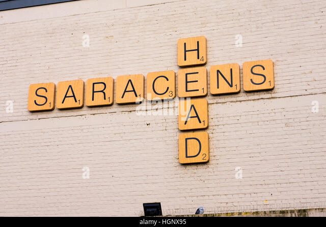 local business uses giant scrabble tiles for their pub sign