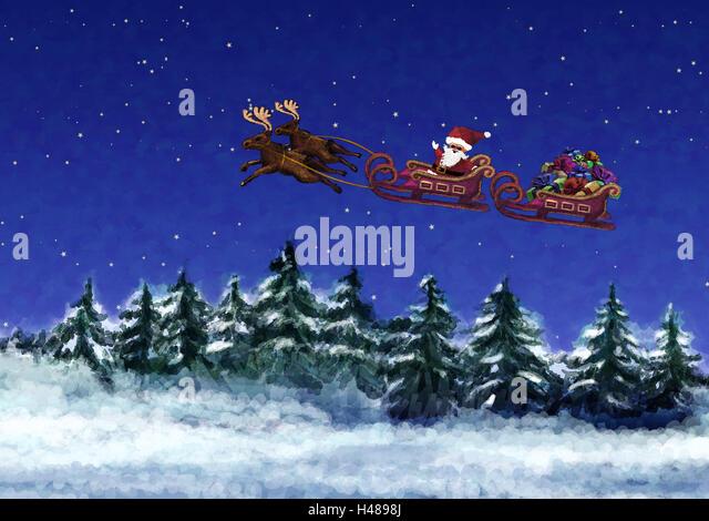 Reindeer Sleigh Fly Stock Photos & Reindeer Sleigh Fly