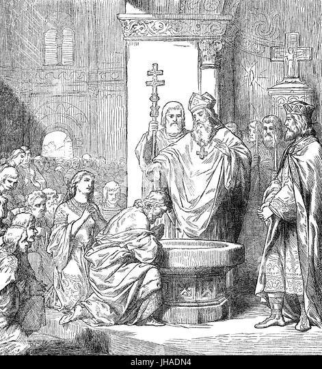 The Baptism of Vladimir the Great or Saint Vladimir of Kiev, c. 958 –1015 - Stock Image