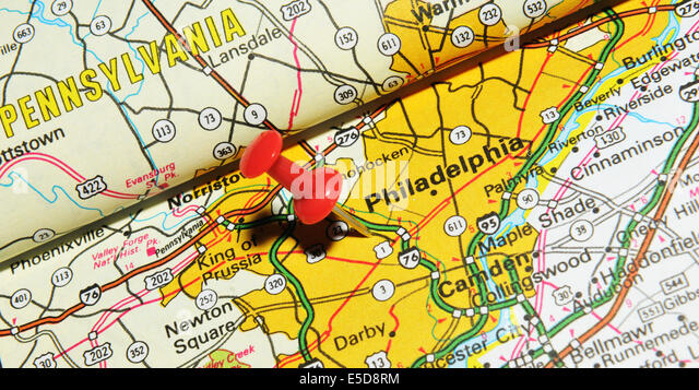 Philadelphia Pinned On Map Usa Stock Photos Philadelphia Pinned