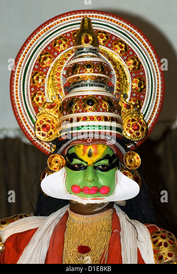kathakali dancer kochi cochin kerala india asia   stock image