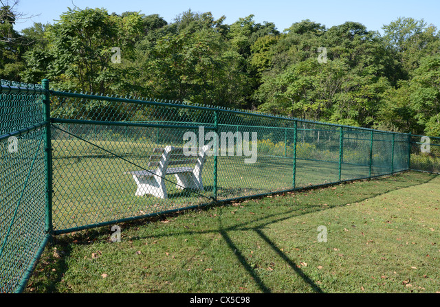 green cyclone fence with bench behind stock image