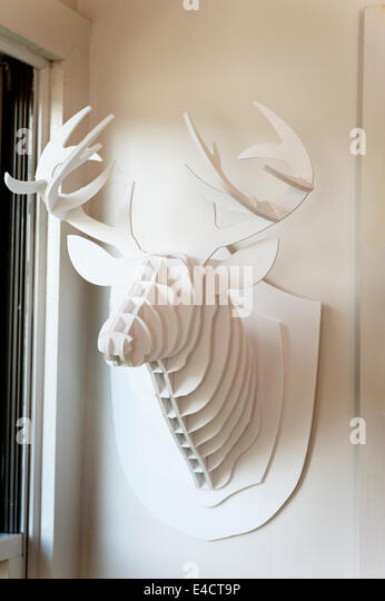 mounted cardboard deer head stock image