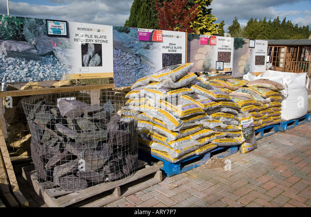 stone and gravel for sale at garden centre wales uk stock image