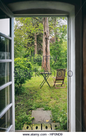 French country house door stock photos french country for Terrace kitchen garden